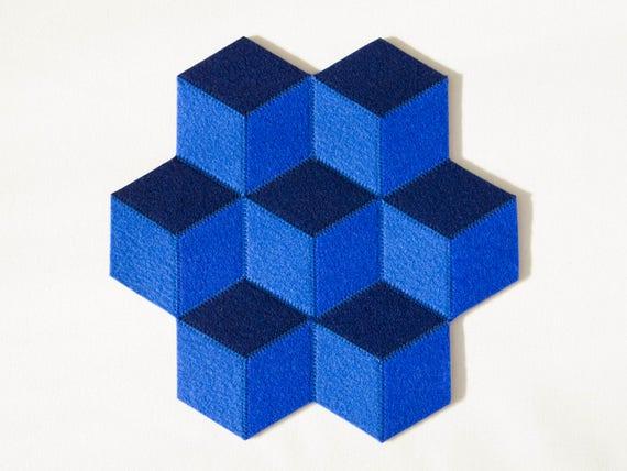 Petit dessous de plat / laine feutre / bleu mat / laine feutre mat ...