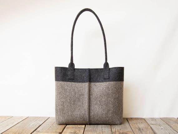Lana fieltro TOTE BAG carbón y gris bicolor bolso tote bolso de mujer bolso de hombro de fieltro bolso gris bolsa gris hecho en Italia