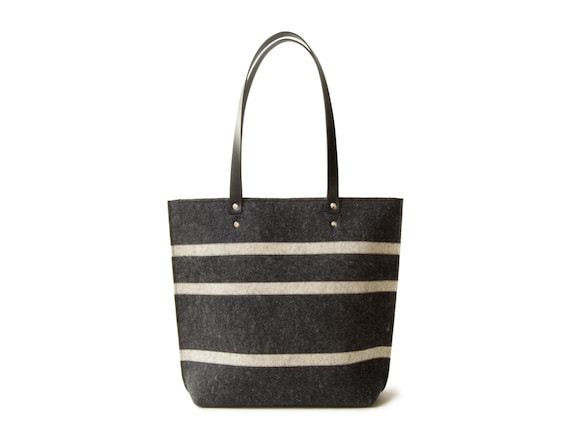 Striped TOTE BAG with leather straps / wool felt tote bag / charcoal and oatmeal bag / womens bag / shoulder bag / black bag / made in Italy