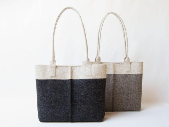 Wool Felt TOTE BAG oatmeal and charcoal / two tone tote bag / womens bag / felt shoulder bag / dark grey bag / gray bag / made in Italy