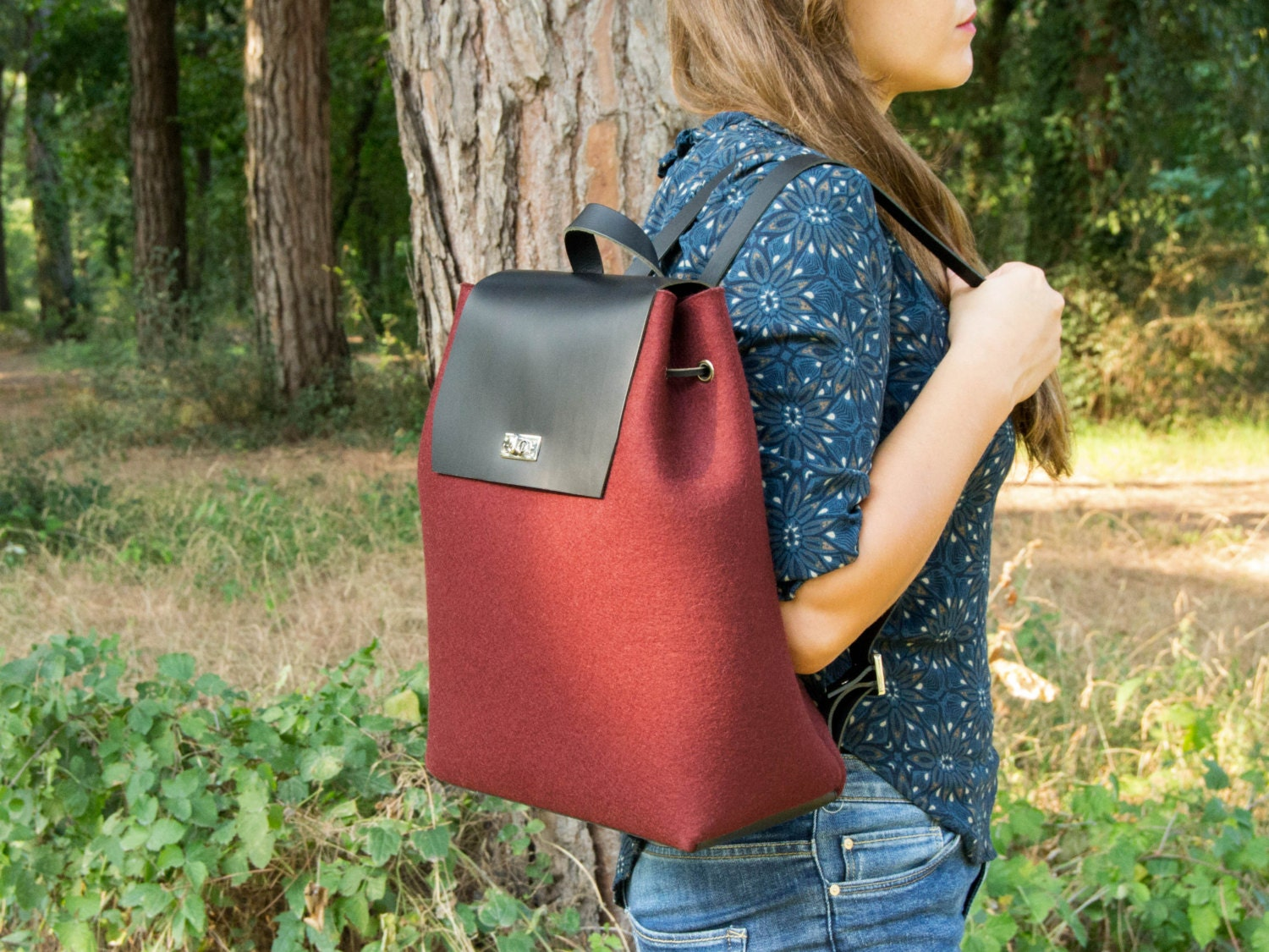 Felt and leather BACKPACK   women s backpack   felt backpack   red backpack    woman backpack   wool felt   handmade in Italy 17fe48c728e7c