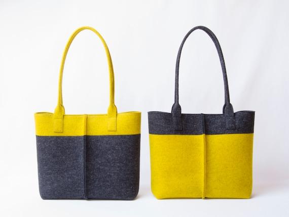 Wool Felt TOTE BAG charcoal and mustard / two tone tote bag / womens bag / felt shoulder bag / black bag / gray bag / made in Italy