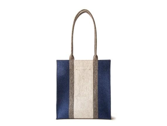 Wool Felt RECTANGULAR TOTE BAG / three-tone tote bag / women's bag / felt shoulder bag / wool felt tote/ blue bag / made in Italy