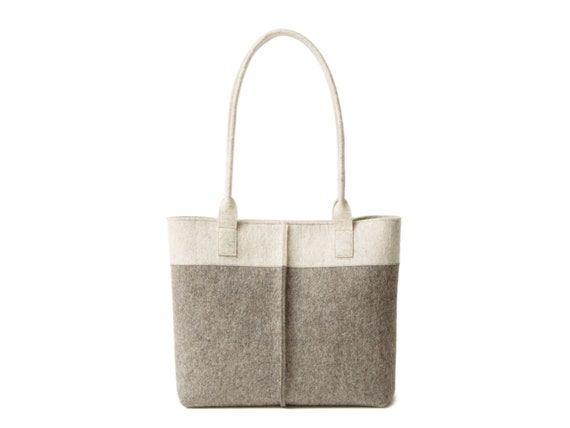 Wool Felt TOTE BAG oatmeal and grey / two tone tote bag / womens bag / felt shoulder bag / grey bag / gray bag / made in Italy