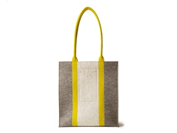 Wool Felt RECTANGULAR TOTE BAG / grey and mustard bag / three-tone tote bag / women bag / felt shoulder bag / wool felt tote/ made in Italy