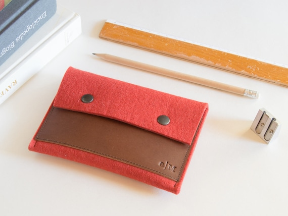 Felt and leather PASSPORT WALLET / passport case / felt wallet / orange wallet / wool felt / felt passport wallet / passport cover