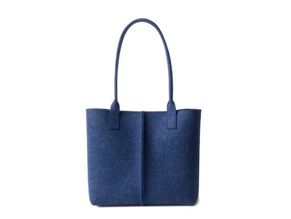Wool Felt TOTE BAG / blue bag / womens bag / felt shoulder bag / carry all bag / made in Italy
