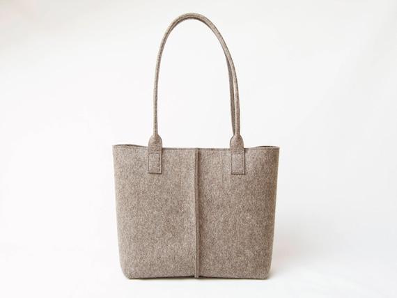 Wool Felt TOTE BAG / grey tote bag / grey bag / womens bag / felt shoulder bag / carry all bag / made in Italy