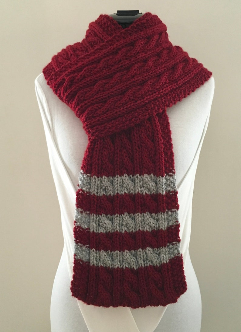 Knit Scarf Cable Striped Burgundy Deep Red Grey Etsy