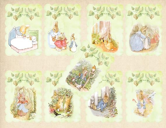 peter rabbit clipart 9 different cards beatrix potter art rh etsy com little peter rabbit clipart peter rabbit clipart png