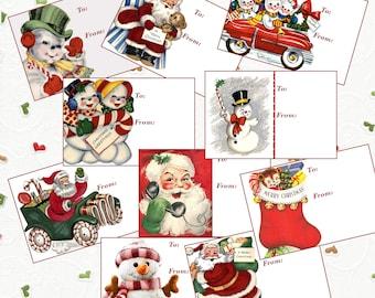 10 Vintage DIY tags, vintage Christmas tags, digital Christmas gift tags, printable Christmas gift tags, DIY Christmas tags, DIY gift tags