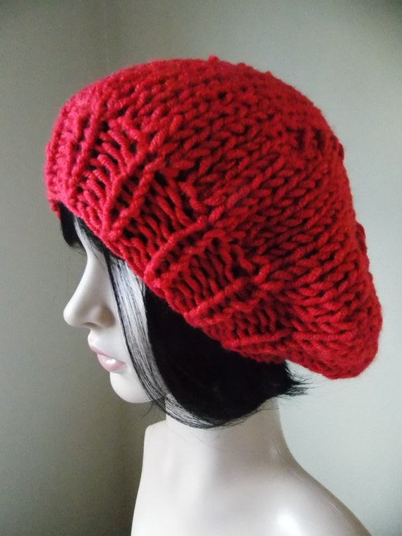 Red Knit Beret hand knit wool blend women s slouchy beret  358ab0c3c46