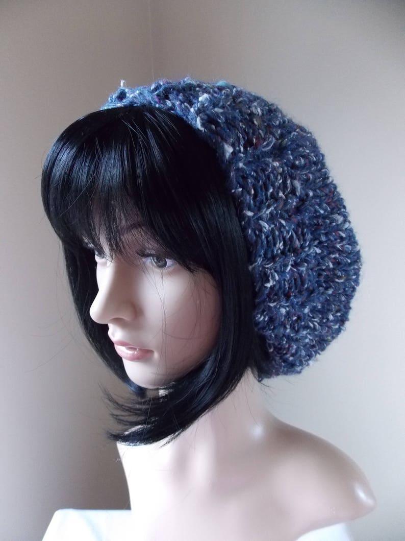 Blue Silk Slouchy Hat women/'s winter beret