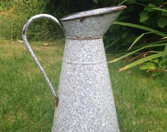 Vintage enamel jug, French speckleware jug, flower vase, grey metal jug, country wedding prop