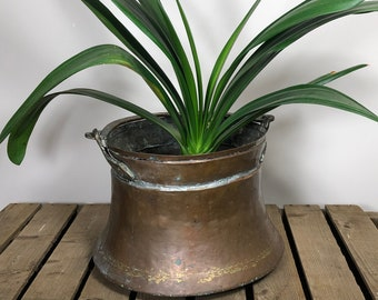 Copper planter, copper cauldron, large metal planter, copper jardiniere