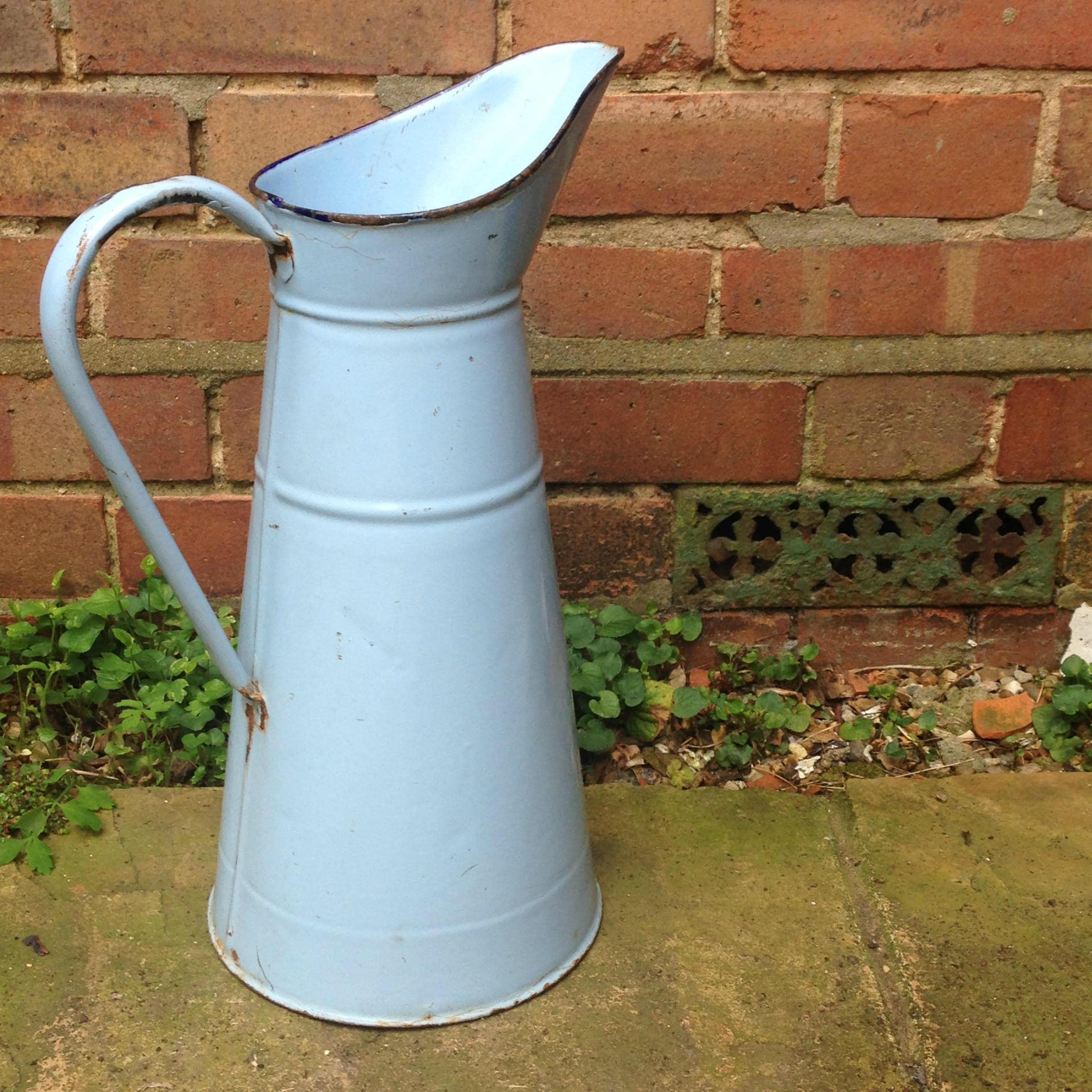Vintage Enamel Jug Duck Egg Blue Flower Vase Blue Metal