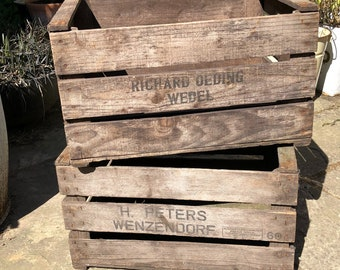 Wooden crate, vintage nursery crate, Dutch/German bulb crate, traditional storage crate