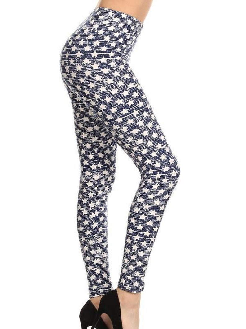 Inked Star Print Leggings Americana Full length Butter Soft