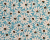 Blue Daisy Fabric Blue Floral Cotton Fabric Blue Daisy Fabric Crazy Daisy Fabric MDG Blue Cotton Calico Fabric By The Yard BTY