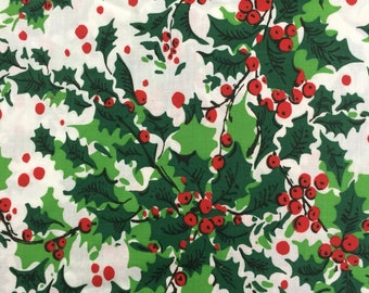 vintage christmas fabric christmas fabric cotton christmas fabric vintage christmas fabric holly fabric holiday fabric quilting