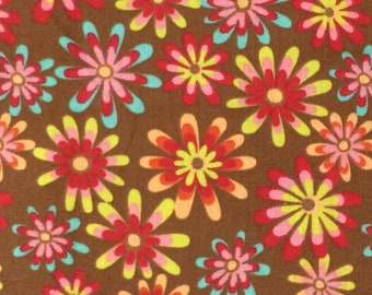 100 /% Cotton fabric ~ Happy ~ Brown with orange,pink /& yellow flowers ~ BTY