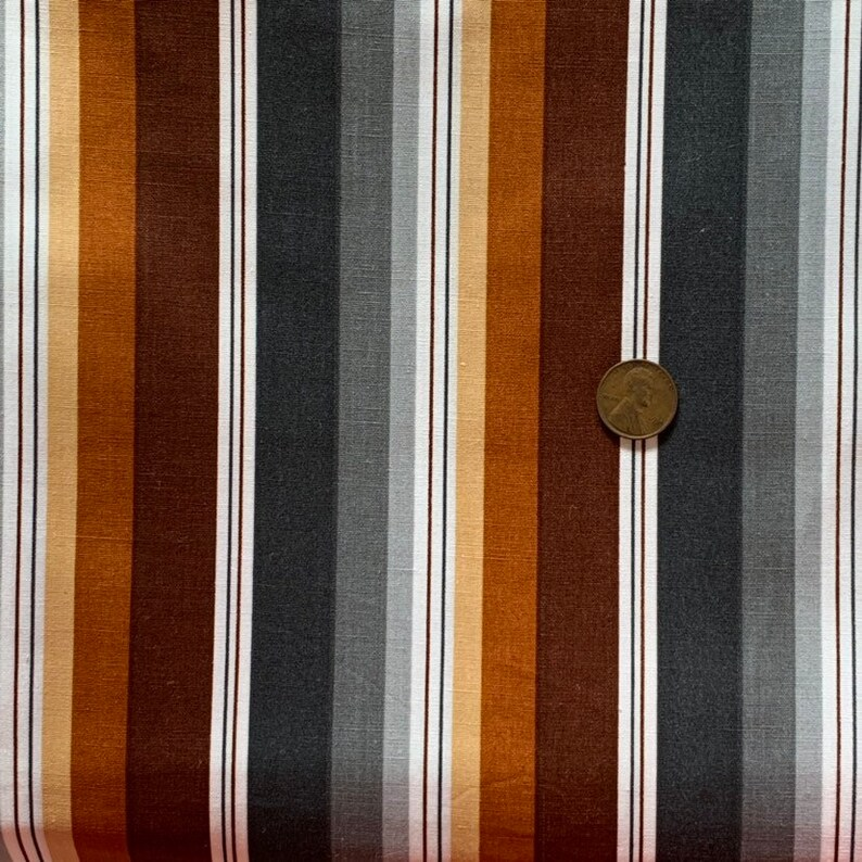 Large Striped Cotton Fabric  Brown Striped Cotton Fabric  Quilting Fabric  Vintage Stripe Fabric  Gray Striped Fabric
