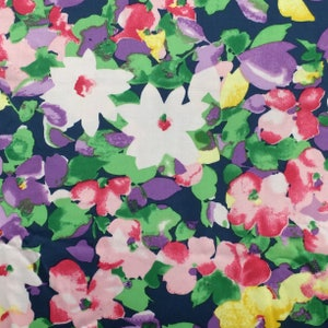 Pink Floral Polyester Fabric  Peach and Purple Floral Fabric  Floral Blouse Fabric  Floral Skirt Fabric  Bloom LA Fabrics