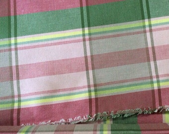 100% Cotton Pink Plaid Home Decor Fabric, Woven, Decorator, Upholstery