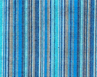 Blue Striped Textured Cotton Fabric