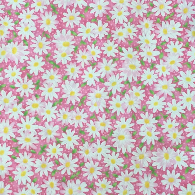 Packed Daisy Pink  Cotton Fabric  Pink Floral Cotton Fabric  Pink Daisy Fabric  Keepsake Calico  Fabric Traditions  Daisy Fabric