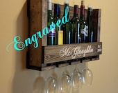 Rush Delivery Personalized Carved Wood Wine Rack with Wine Glass Holder