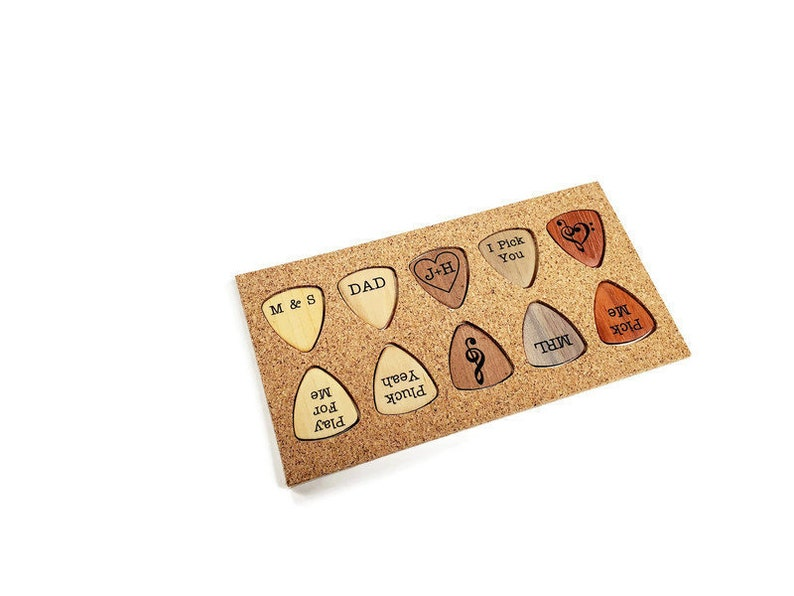 Set of 10 Wood Guitar Picks  Laser Cut and Shaped By Hand  image 0