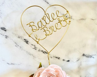 Custom Wire Cake Topper Name Art, Wedding Wire Heart Couple Cake Topper, Personalized Cake Topper, Unique Wedding Gift