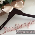 Wedding hanger personalized with date, Custom wire hanger, wedding hanger, name hanger, bridal hanger, wire hanger, personalized hanger