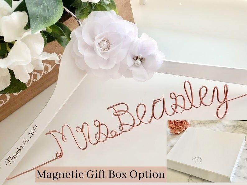 Personalized Wedding hanger for bride with date custom wire image 0