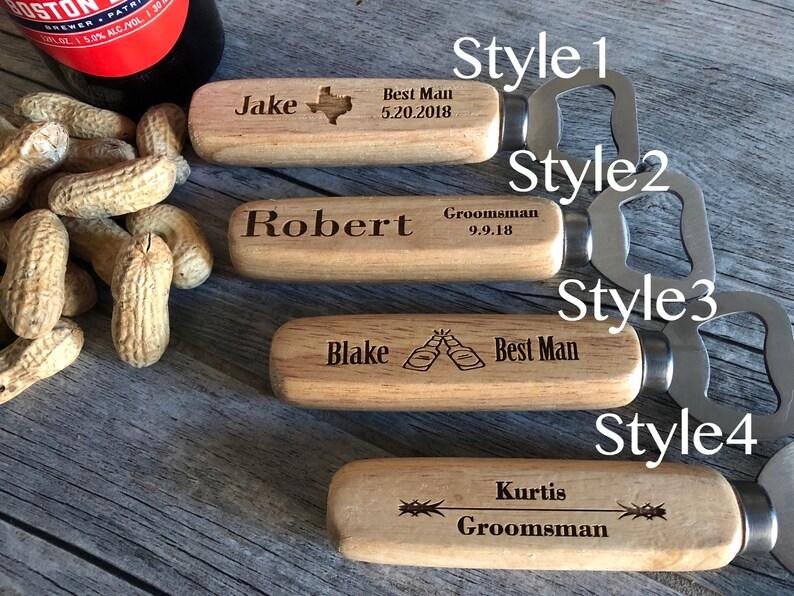 Engraved Wood opener Set of 7 Personalized Bottle Opener Custom Bottle Opener Wedding Gift Christmas gifts Groomsmen Gift