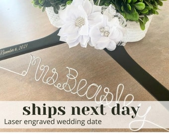 Wedding hanger, Bridal hanger, Personalized hanger, Custom wire hanger, Bridal hanger, Bride gift, Bridesmaids gift, Bridesmaid gifts