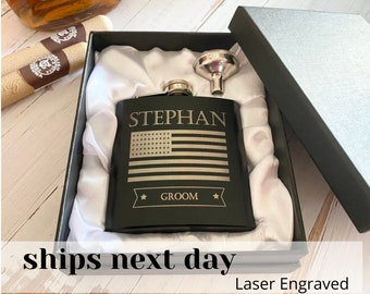 Personalized Flask, Fathers day, Gifts for Groomsmen, US Flag, Gift for Dad, husband, him, Best Man, Step dad