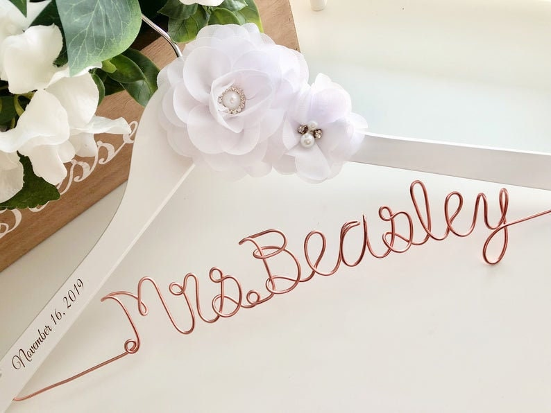 Personalized Wedding hanger custom wire hanger bridal image 0