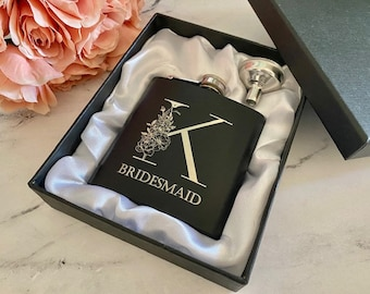 Personalized Valentines gift for her, Custom Bridesmaid Bride Gift, Personalized Bachelorette party, Bridal shower, Mothers day, Mom Flask