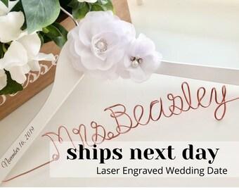 Wedding hanger, Bridal hanger, Personalized gift for bride, Engagement gifts for bride, Bridal hanger for wedding dress, Wire hanger