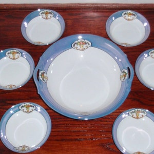 6 Antique Bowls JUNO NORITAKE M Morimura Set #716 Fruit Dessert Sauce Rimmed Blue Tan Band Floral Scrolls White Cream 5 12 Six Excellent!
