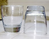 2 LIBBEY ROCKS PREMIERE Double Fashioned Glasses Tumblers Heavy Clear Thick Bottoms 4 quot Tall Plain Clear Unused Excellent Condition