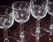 4 Depression LIBBEY ROCK SHARPE 4 1 2 quot Wine Cordials Glasses Goblets Floral Leaves Straight Stems Clear Crystal Set Four Excellent Condition