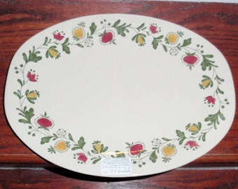 """JOHNSON BROTHERS GRETCHEN Oval Platter Chop Plate 10 1/2"""" x 9 1/2"""" Old Granite China Staffordshire England Very Nice Condition"""