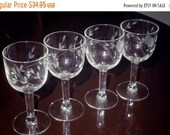 ON SALE 4 Depression LIBBEY Rock Sharpe 4 1 2 quot Wine Cordials Glasses Goblets Floral Leaves Straight Stems Clear Crystal Set Four Excellent C