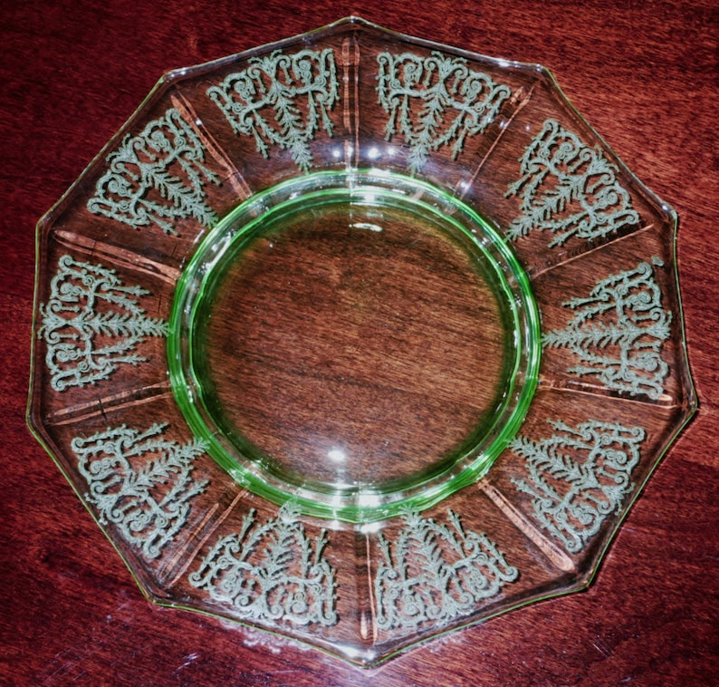 One Cambridge Plate Cleo Etched Depression Glass 8 Lunch Etsy