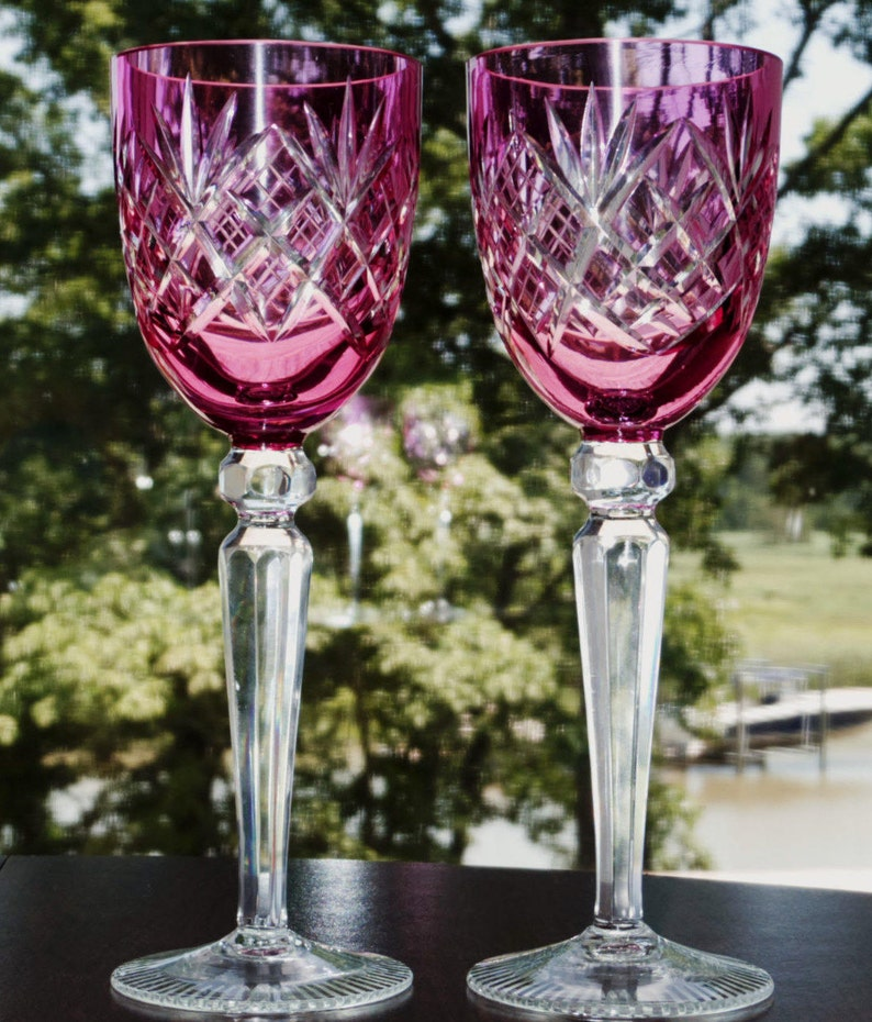 Glass Pair Of Bohemian Cranberry Cut To Clear Wine Hock Goblets Etched Star Design