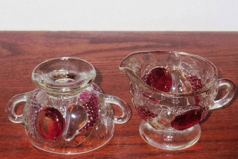 Set WESTMORELAND DELLA ROBBIA Sugar Bowl Creamer Pitcher Footed Dark Fruit Depression Glass Clear Crystal Excellent Condition