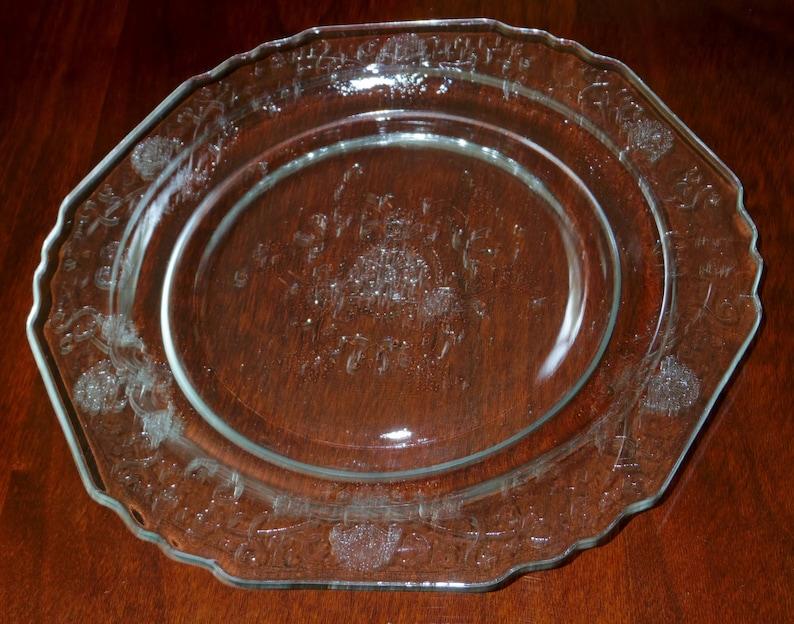 1 HAZEL ATLAS POPPY Clear Florentine 1 Depression Glass Floral Etched Plate  8 12 Dessert Salad Luncheon Crystal 1932 Excellent Condition